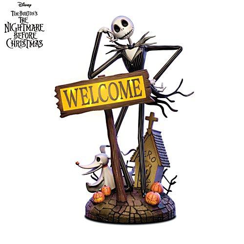 Disney Tim Burton's The Nightmare Before Christmas Jack Skellington Solar Lit Welcome Sign