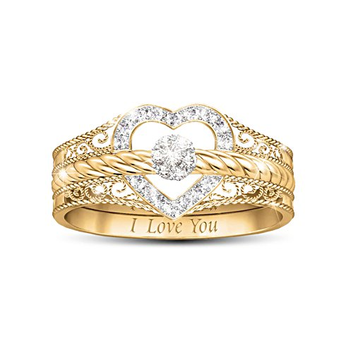 'I Love You' Diamond Ladies' Ring Trio Set