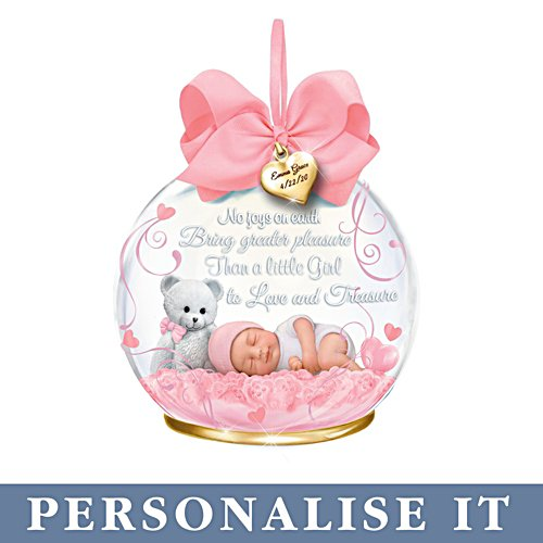 'A Baby To Treasure' Girl Personalised Illuminated Ornament
