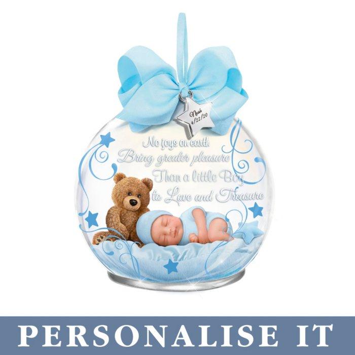 A Baby To Treasure' Boy Personalised Illuminated Ornament