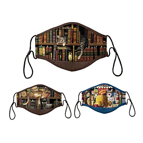 Charles Wysocki 'Literary Cats' Antibacterial Face Mask Set
