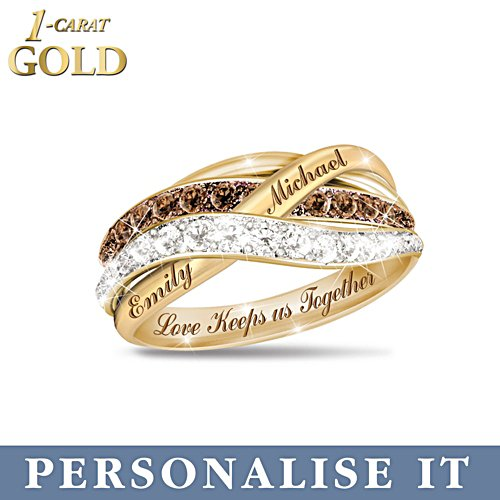 'Together In Love' Mocha Diamond Personalised 1-Carat Solid Gold Ring