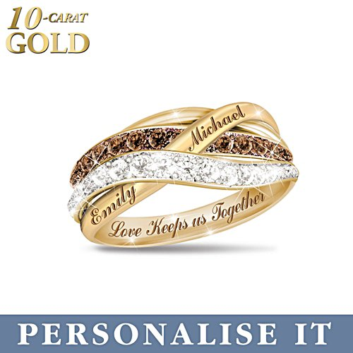 'Together In Love' Mocha Diamond Personalised 10-Carat Solid Gold Ring