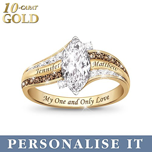 'My One And Only Love' Personalised Topaz and Diamond 10-Carat Solid Gold Ring
