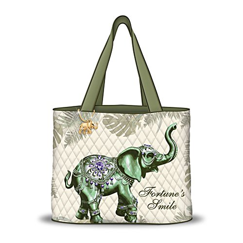 'Fortune's Smile' Elephant Ladies' Quilted Tote