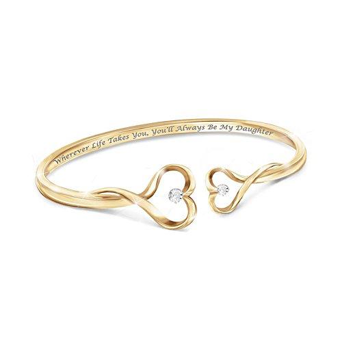 """Always My Daughter"" Engraved Diamond Bangle Bracelet"