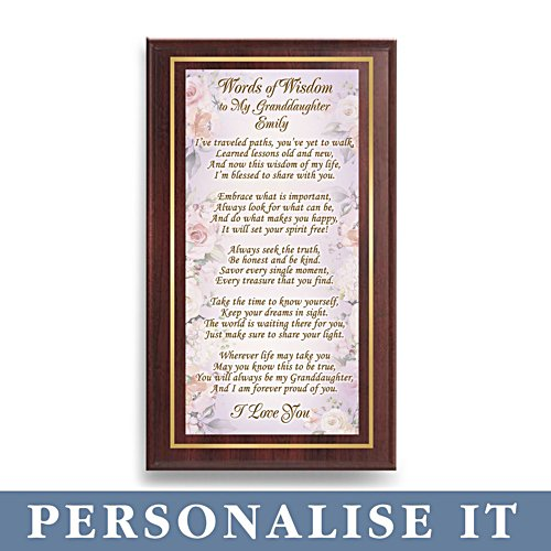 'Words Of Wisdom For My Granddaughter' Personalised Wall Décor