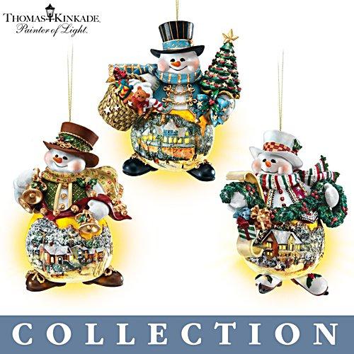 Thomas Kinkade 'Memories of Christmas' Snowman Ornament Collection