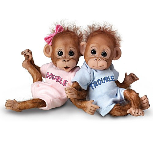 'Double Trouble' Twin Orangutan Baby Doll Set