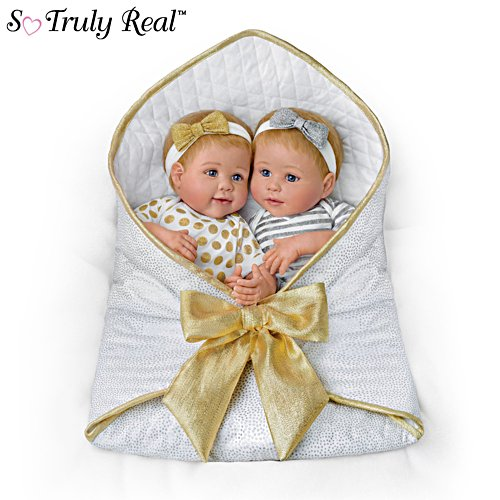 'Silver And Gold Twins' Silicone Baby Girl Doll Set