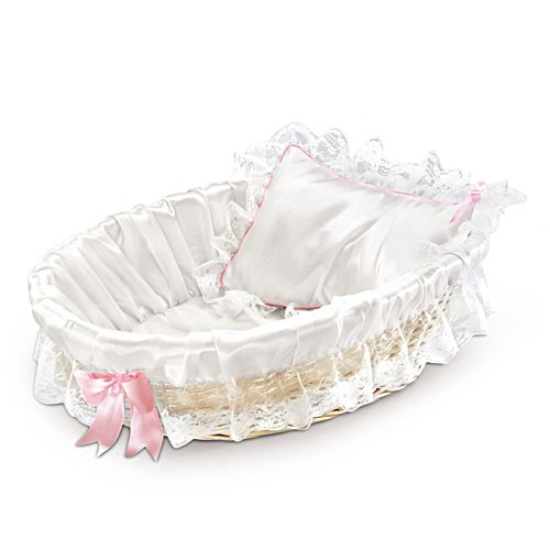 Bassinet For Baby Doll With White-Painted Wicker