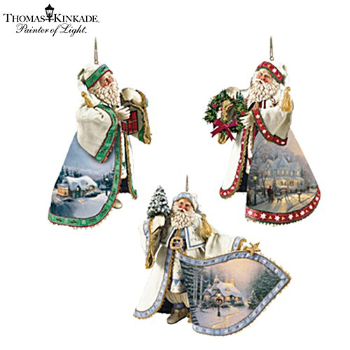 Thomas Kinkade Heirloom Santa Ornaments: Set One