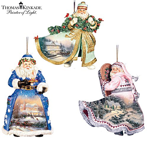 Thomas Kinkade Heirloom Santa Ornaments: Set Two
