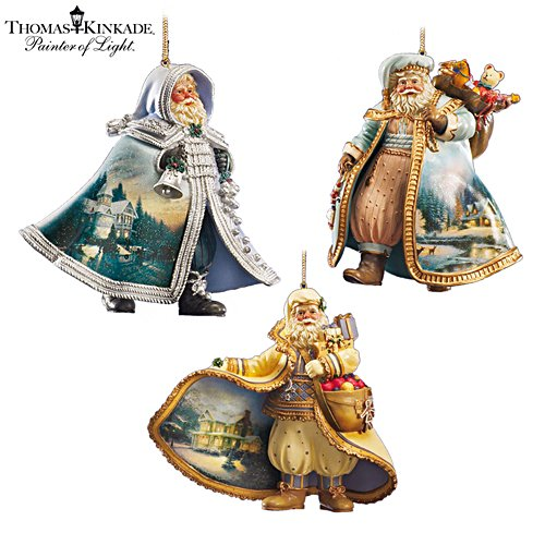 Thomas Kinkade Heirloom Santa Ornaments: Set Three