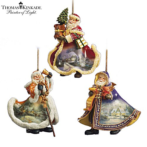 Thomas Kinkade Heirloom Santa Ornaments: Set Four