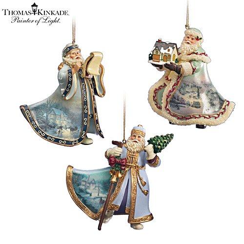 Thomas Kinkade Heirloom Santa Ornaments: Set Eight