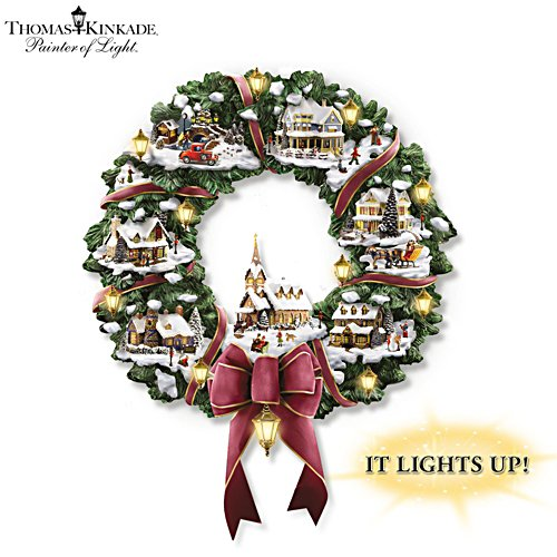 Thomas Kinkade Christmas Village Illuminated Wreath