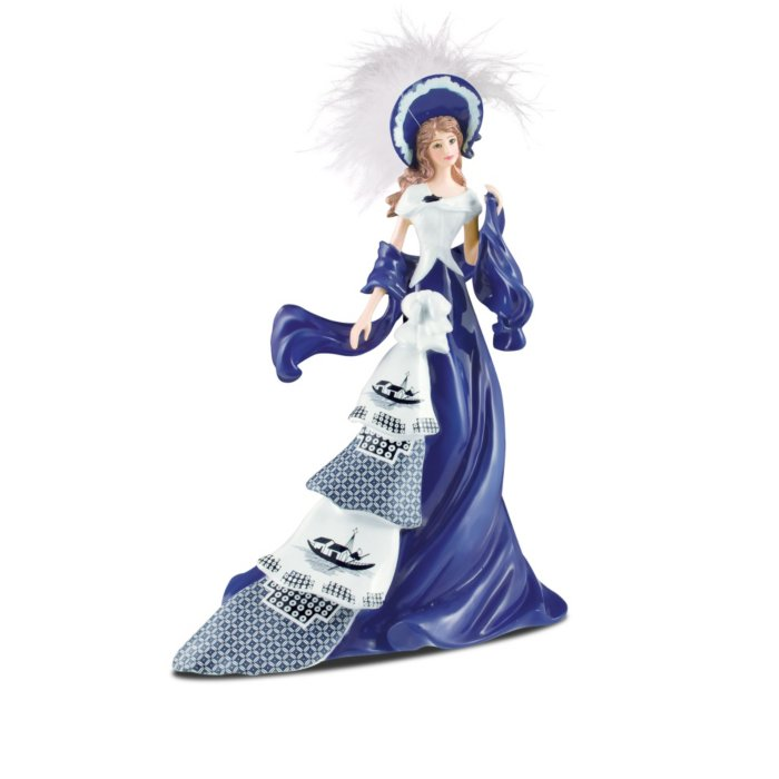 Fiona Figurine Blue Willow Collection Elegant Lady  Bradford Exchange