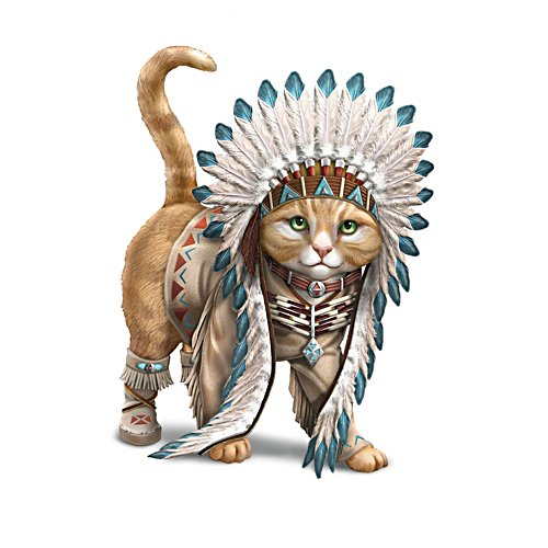 'Chief Runs With Paws' Cat Figurine