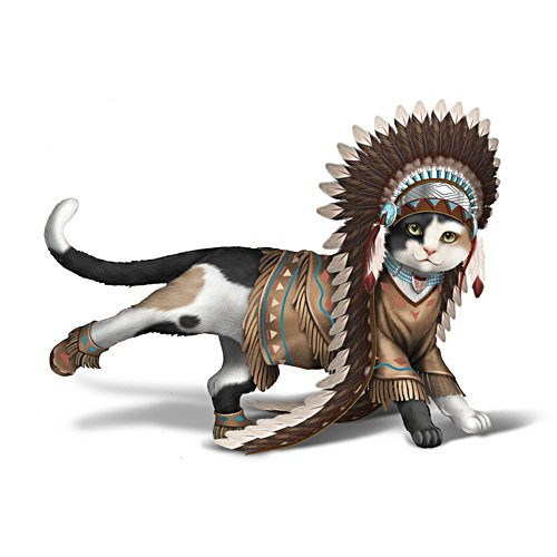 'Kicking Bird' Cat Figurine