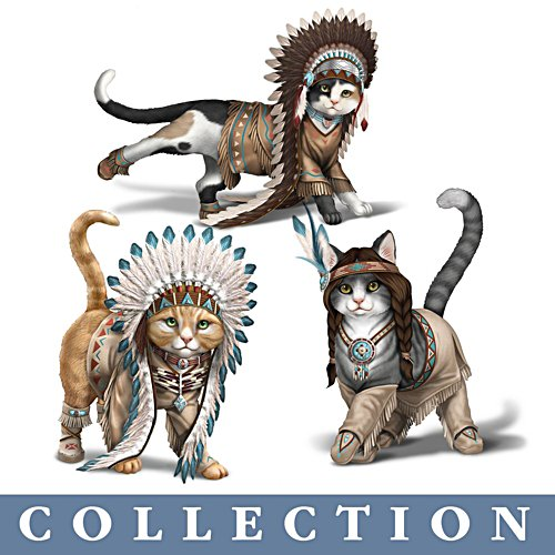 'Feathers 'N Fur' Kittens Figurine Collection