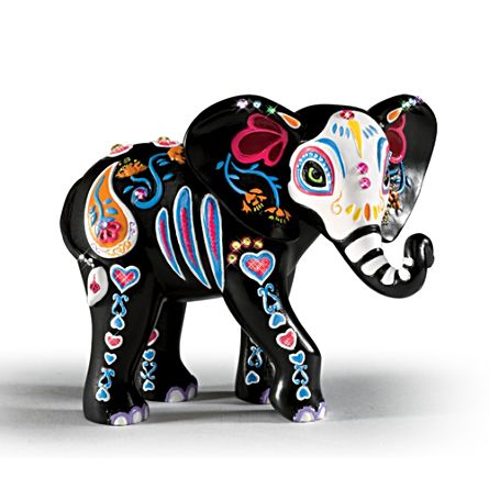 'Celebration Of Luck' Sugar Skull Elephant Figurine
