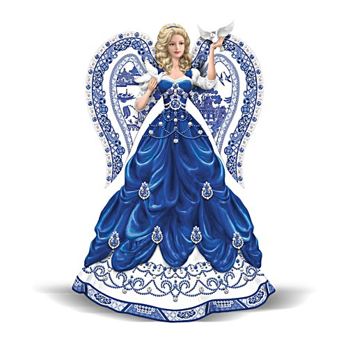 'Sparkling Blue Willow' Angel Figurine