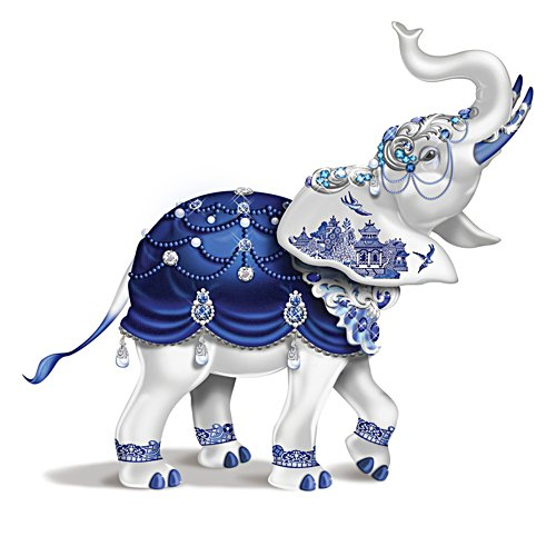'Sparkling Blue Willow' Elephant Figurine