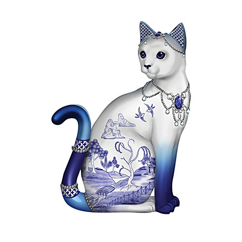 'Sparkling Blue Willow' Cat Figurine