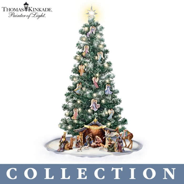 Angel Ornaments For Christmas Tree.Thomas Kinkade Blessed Nativity Christmas Tree Collection