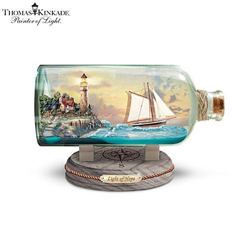Thomas Kinkade 'Light Of Hope' Illuminated Ship-In-A-Bottle Sculpture