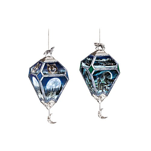 'Eyes Of The Night' Wolf Art Ornament Duo