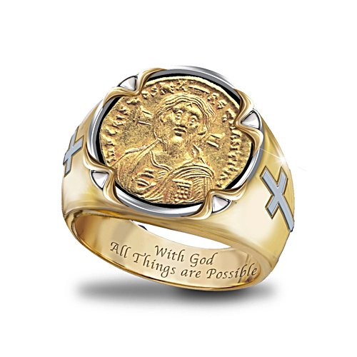 'Face Of Faith: Christ' Men's Coin Ring