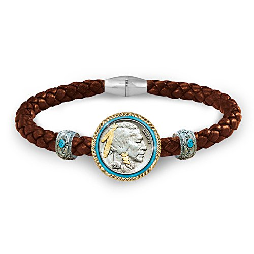 'Buffalo Nickel' Leather Wristband
