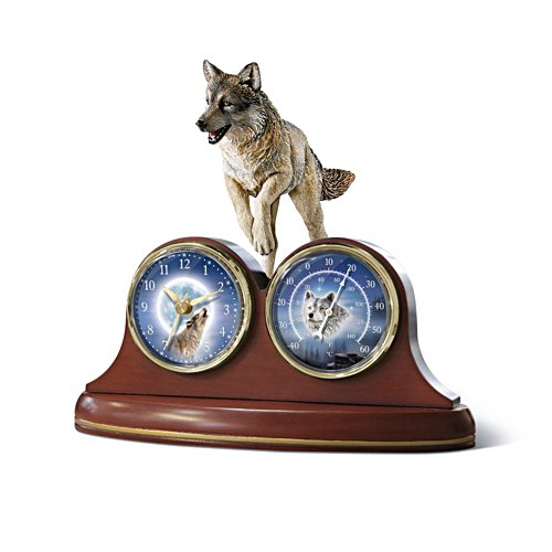 'Guardians Of Time' Wolf Desk Clock