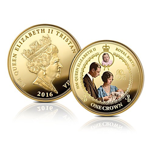 'Queen Elizabeth II Royal Birth' Golden Crown Coin