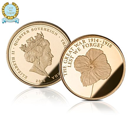 The Official Lest We Forget First World War Centenary Gold Quarter Sovereign