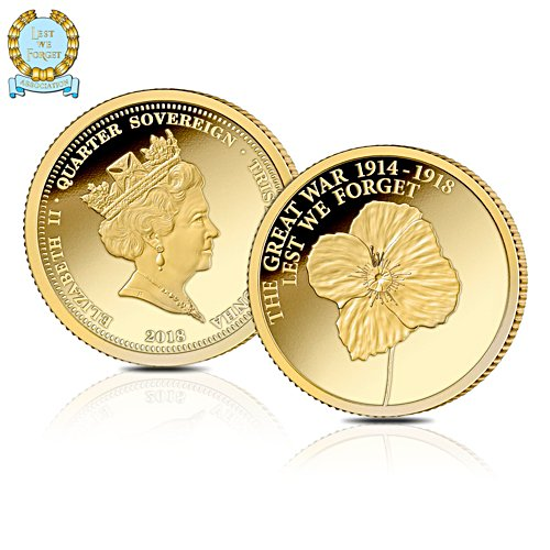 Official Lest We Forget First World War Centenary Gold Quarter Sovereign Proof Edition