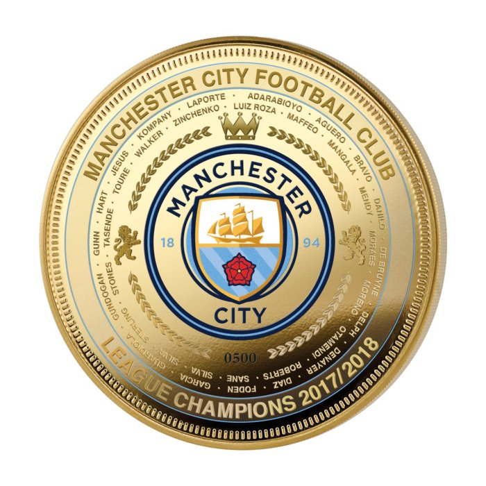 Manchester City Fc League Champions Gold Plated Commemorative