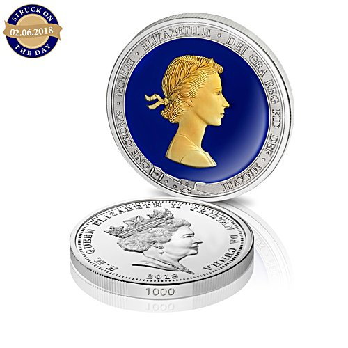 The Queen's Sapphire Coronation Jubilee Double Portrait Silver Crown Coin