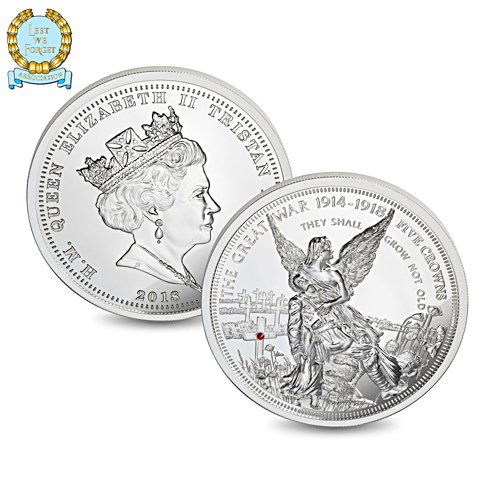 The Angel of Remembrance Five Crown Coin with Swarovski Crystal