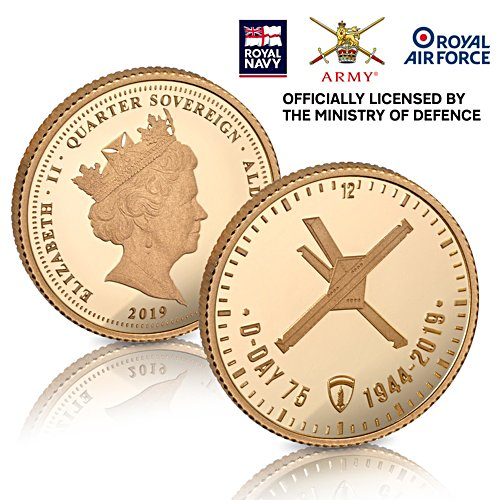 The D-Day 75th Anniversary Gold Quarter Sovereign - officially licensed by the Ministry of Defence