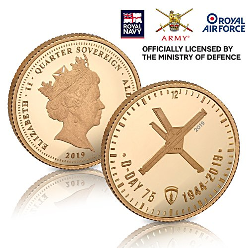 The D-Day 75th Anniversary Gold Quarter Sovereign - officially licensed by the Ministry of Defence - Proof & Numbered Edition