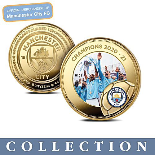 Manchester City 2020-2021 Champions Gold-Plated Commemorative Collection