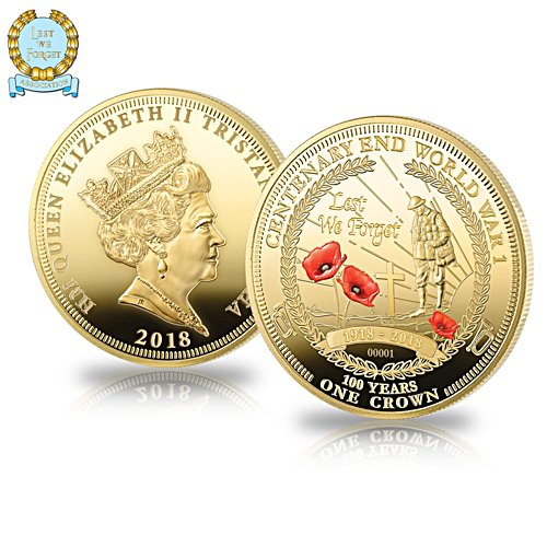 The Official Lest We Forget Armistice Centenary Golden Crown Coin