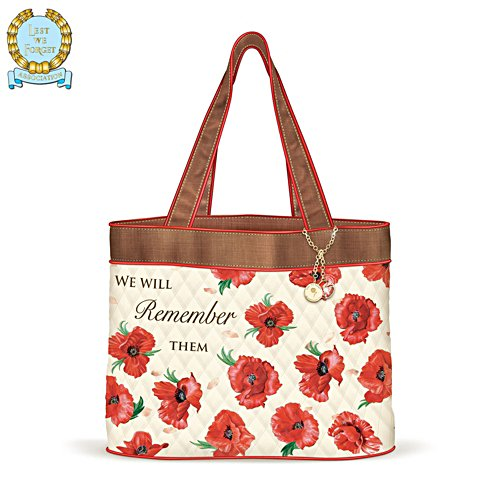 'We Will Remember Them' Poppy Quilted Tote Bag