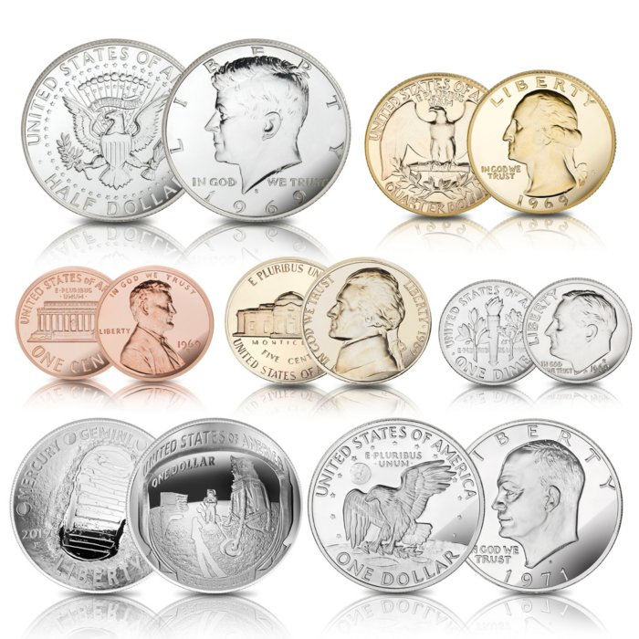 The US Mint Moon Landing Proof Coin Set 1969 - 2019