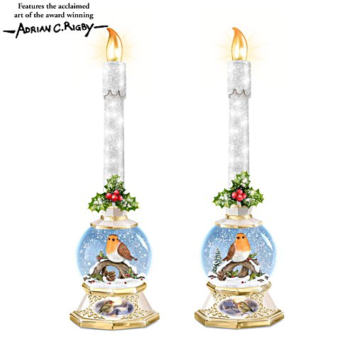 'Merry Messengers' Illuminated Snowglobe Candle Set