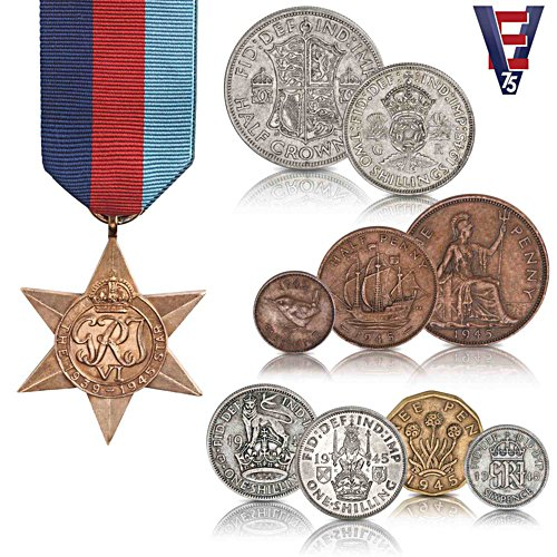 The VE Day 1945 Coin & 1939-1945 Star Medal Set