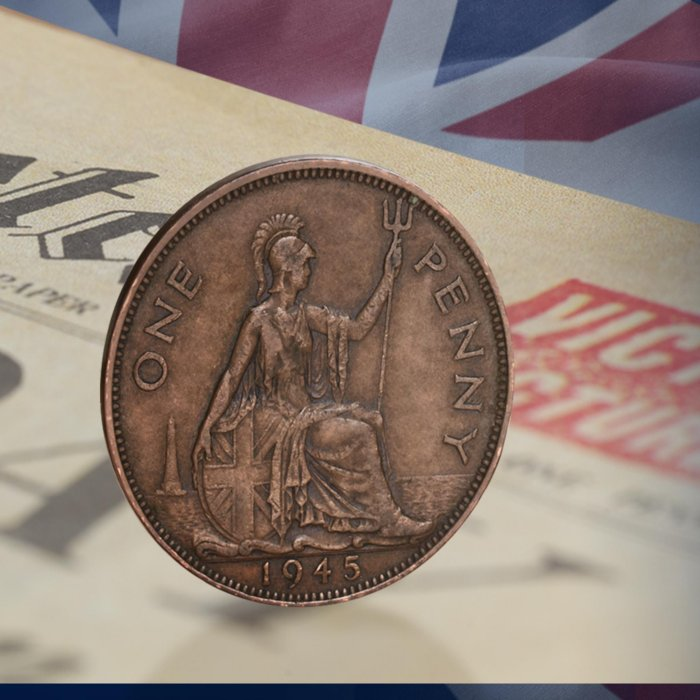 The 1945 Victory Penny & Newspaper Set